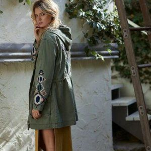 Free People Twill Embroidered Military Jacket